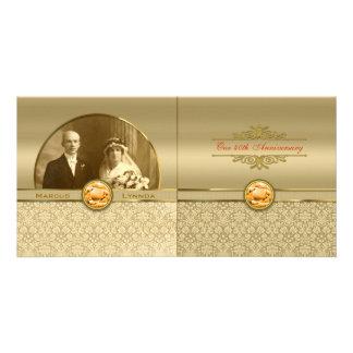 Faux Orange Topaz Gemstone Metallic Gold Damask Photo Card
