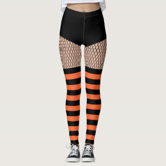 Faux OTK Orange Striped Socks Fishnet Leggings