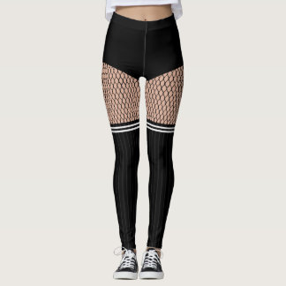 Faux OTK Striped Socks Fishnets Leggings