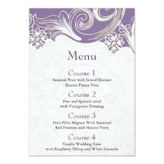 FAUX paper cutout effect purple wedding menu 13 Cm X 18 Cm Invitation Card