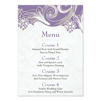 FAUX paper cutout effect purple wedding menu Card