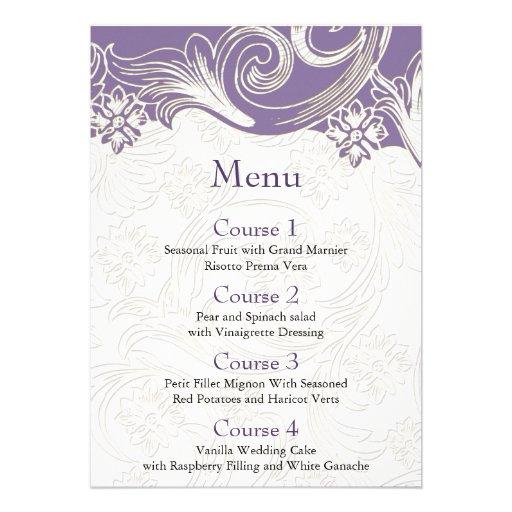 FAUX paper cutout effect purple wedding menu Custom Announcements