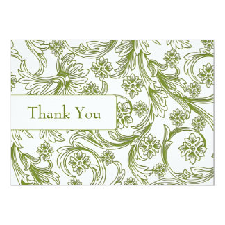 "FAUX paper cutout green wedding thankyou cards 5"" X 7"" Invitation Card"
