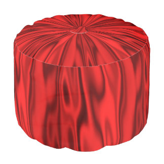 Faux Pastel Vibrant Red Satin Look of Luxury Pouf