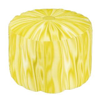Faux Pastel Yellow Satin Look of Luxury Pouf