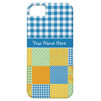Faux Patchwork and Blue, White Check Gingham iPhone 5 Cover