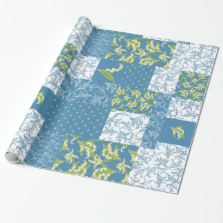 Faux Patchwork Giftwrap: Lily of the Valley, Blue Wrapping Paper