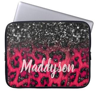 Faux Pink Black Glitter Leopard Spots Teen Girls Laptop Sleeve