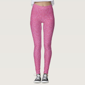 Faux Pink Glitter And Glamour Leggings