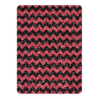 Faux Pink Glitter Chevron Pattern Black Glitter 14 Cm X 19 Cm Invitation Card