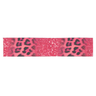 Faux Pink Glitter Leopard Spots For Teen Girls Short Table Runner