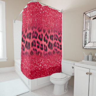 Faux Pink Glitter Leopard Spots For Teen Girls Shower Curtain