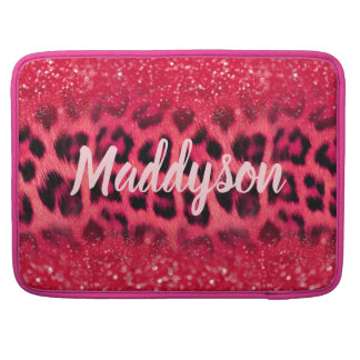 Faux Pink Glitter Leopard Spots For Teen Girls Sleeve For MacBook Pro