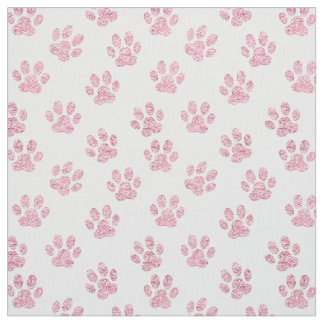faux pink glitter pet paw print pattern fabric