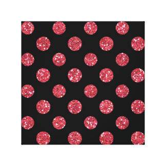 Faux Pink Glitter Polka Dots Pattern on Black Gallery Wrapped Canvas