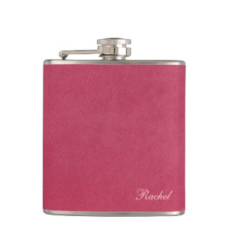 Faux Pink Leather Hip Flask