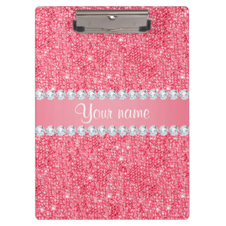 Faux Pink Sequins and Diamonds Clipboard