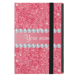 Faux Pink Sequins and Diamonds Cover For iPad Mini