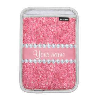 Faux Pink Sequins and Diamonds iPad Mini Sleeve