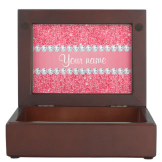 Faux Pink Sequins and Diamonds Keepsake Box