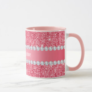 Faux Pink Sequins and Diamonds Mug