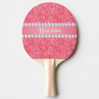 Faux Pink Sequins and Diamonds Ping Pong Paddle