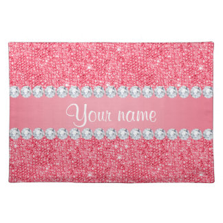 Faux Pink Sequins and Diamonds Placemat