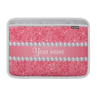 Faux Pink Sequins and Diamonds Sleeve For MacBook Air