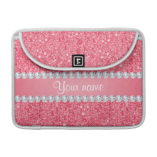Faux Pink Sequins and Diamonds Sleeve For MacBooks