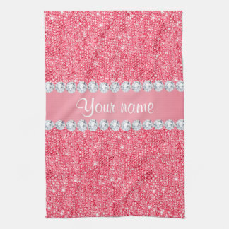 Faux Pink Sequins and Diamonds Tea Towel