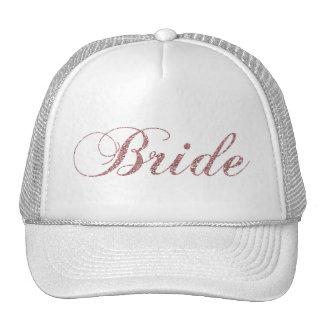 Faux Pink Sparkles Bride Cap