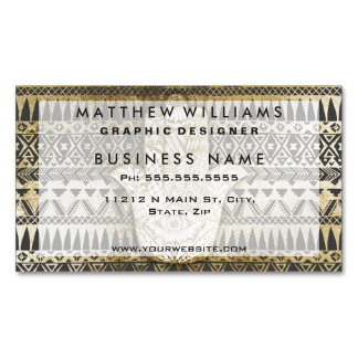 Faux Print Gold Hamsa Hand and Tribal Aztec Magnetic Business Cards