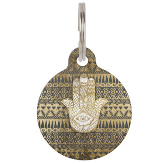 Faux Print Gold Hamsa Hand and Tribal Aztec Pet ID Tag