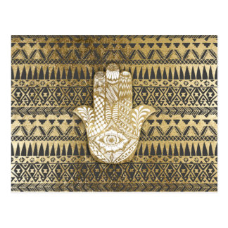 Faux Print Gold Hamsa Hand and Tribal Aztec Postcard