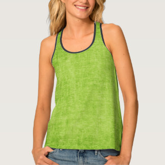 Faux  Printed Solid Green Textured Background Singlet
