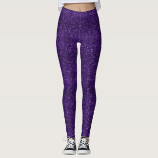 Faux Purple Glitter And Glamour Leggings