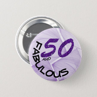 Faux Purple Glitter and White Typography Birthday 6 Cm Round Badge