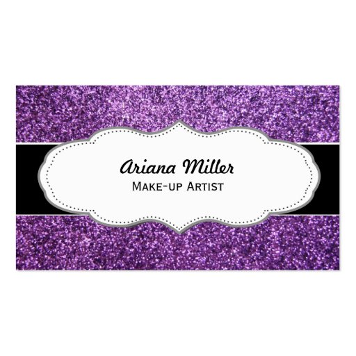 Faux purple glitter business cards zazzle for Purple business cards