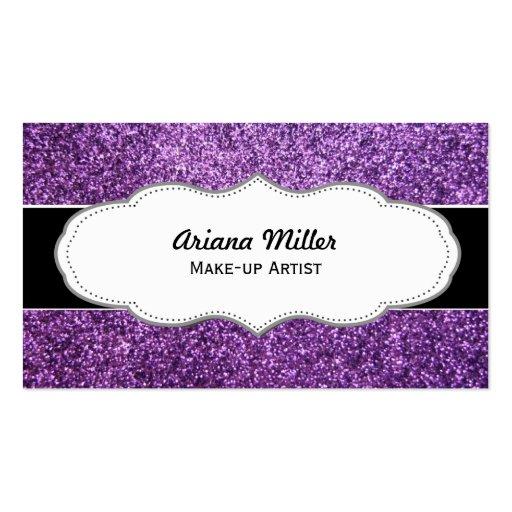 Faux Purple Glitter business cards