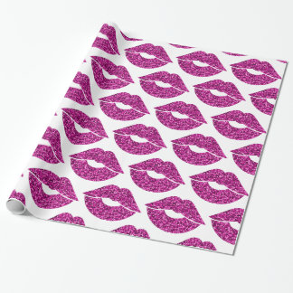 Faux Purple Glitter Look Lips Pattern Wrapping Paper