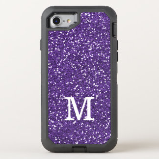 Faux Purple Glitter Monogram Initial OtterBox Defender iPhone 7 Case