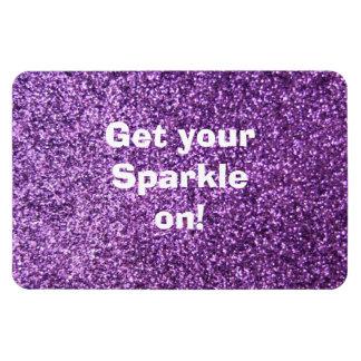 Faux Purple Glitter Rectangular Photo Magnet