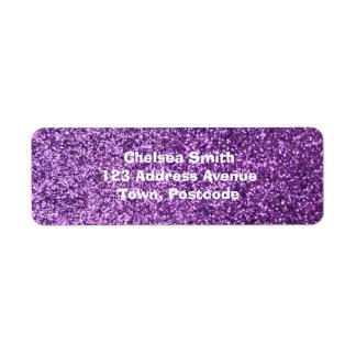 Faux Purple Glitter Return Address Label