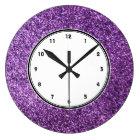 Faux Purple Glitter wall clock
