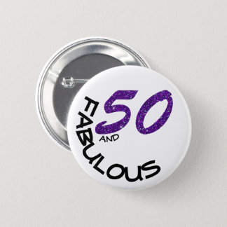 Faux Purple Glitter & White 50th Birthday Party 6 Cm Round Badge