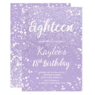 Faux purple lavender confetti 18th Birthday Card