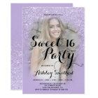 Faux purple lavender glitter ombre photo Sweet 16 Card