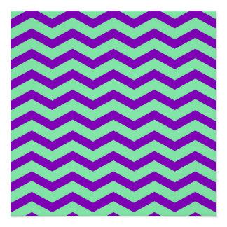 Faux Purple Mint Green Foil Chevron Zig Zag