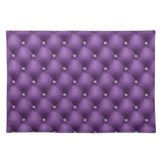 FAUX Purple quilted leather, diamante Placemat