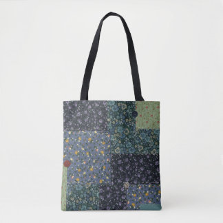 Faux Quilted All Over Print Tote Bag